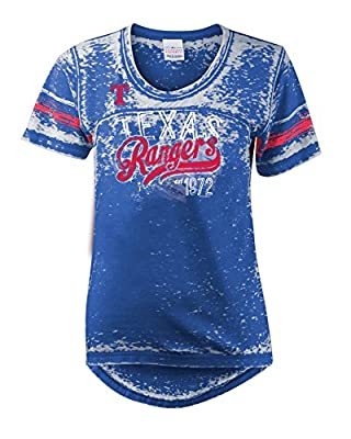 MLB Texas Rangers Burnout Wash Wide Crew Neck Jersey