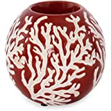 @home By Nilkamal White Ceramic Earthy Wine Candle Holder