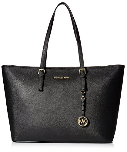 Michael Kors Jet Set Travel Medium Saffiano Leather Top-Zip Borsa Tote, Donna, Nero