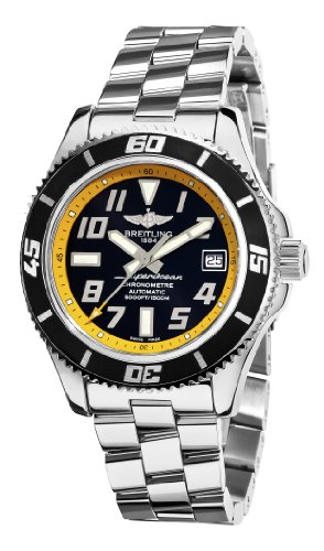 Breitling Mens A1736402/BA32SS Superocean Abyss Black and Yellow Dial Watch<br />
