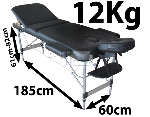 MASSAGE IMPERIAL LIGHTWEIGHT PROFESSIONAL MAYFAIR ALUMINIUM 12Kg - BLACK 3-SECTION PORTABLE MASSAGE TABLE COUCH BED SPA WITH FREE MASSAGE TABLE COVER 5cm/2