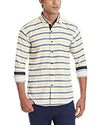 Dennison Men's Casual Shirt (SS-16-407_42_Yellow White and Grey)