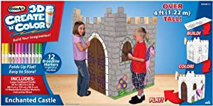 RoseArt 3D Create 'N' Color Cardboard Enchanted Castle Coloring and Assembly Set with 12 Broadline Markers (43446)