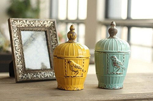 Pastoral Home Furnishing Decor Resin Decoration-Ceramic Storage Tank--Blue