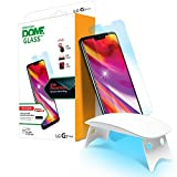 Dome Glass LG G7 ThinQ Tempered Glass Screen Protector, Edge of Coverage 2.5D [Liquid Dispersion Tech], Easy Install Kit and UV Light by Whitestone for LG ThinQ G7 (2018) (Color: Full Install Kit)