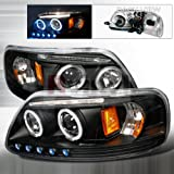97-03 Ford F150 Led Halo Projector Headlights - Black