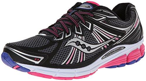 Saucony Women's Omni 13 Running Shoe,Black/Pink/Blue,9 M US