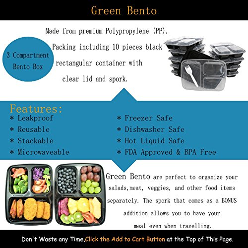 [10?Pack]3?Compartment?Meal?Prep?Food?Storage?Containers?with?Lids/BPA?Free?Bento?Lunch?Boxes/Divided?Portion?Control?Container?Plates-Microwave,?Dishwasher?Safe,?Free?Cutlery