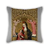 Bestseason Throw Pillow Covers 18 X 18 Inches / 45 By 45 Cm(both Sides) Nice Choice For Bedding,outdoor,kids Boys,monther,seat,father Oil Painting Master Of Langa - Virgin And Child With Angels