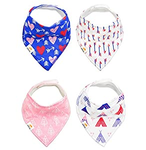 4 - Pack Stylish Baby Bandana Bibs , 100% Organic Cotton Front , Soft and Absorbent Infant and Toddler Accessories , Safe for Babies, Perfect for Teething and a Great Baby Gift Choice -- by Natemia!