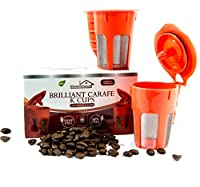 (2 pack) Reusable Brilliant Carafe K Cups for Keurig 2.0 -Compatible & Refillable with Keurig 2.0 coffee filter for, K200, K300, K400, K500 Series