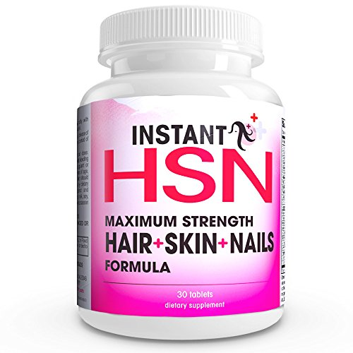 Instant Hsn All-Natural Perfect Triple Strength Hair, Skin, And Nails Strengthening Formula Maximum Strength Biotin Hair Growth Supplement, Clear Skin Acne Supplement, And Stronger Nails Blend Of Biotin, Vitamin A, Msm, Green Tea Extract, Vitamin C, Vitam