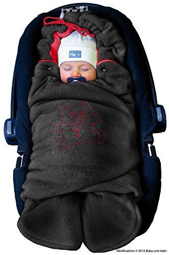 ByBoom-Baby-Winter-Einschlagdecke-Das-Original-mit-dem-Bren-Universal-fr-Babyschale-Autositz-zB-fr-Maxi-Cosi-Rmer-fr-Kinderwagen-Buggy-oder-Babybett-FarbeAnthrazitRot
