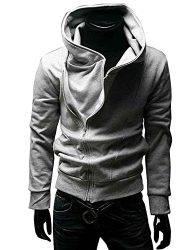 Gaorui High Collar Men Jacket Slim Dust Coat Hoodie Clothes Sweater Overcoat (Small, Grey)