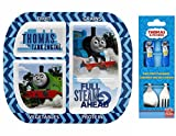Thomas the Train & Friends Divided 4 Section Healthy by Design Plate and Fork / Spoon Flatware Set