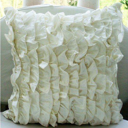 Vintage - 18X18 Inches Square Decorative Throw Ivory Satin Pillow Covers With Satin Ruffles front-1077627