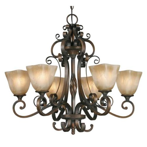 Golden Lighting 3890-6 GB Meridian Six Light Chandelier, Golden Bronze Finish