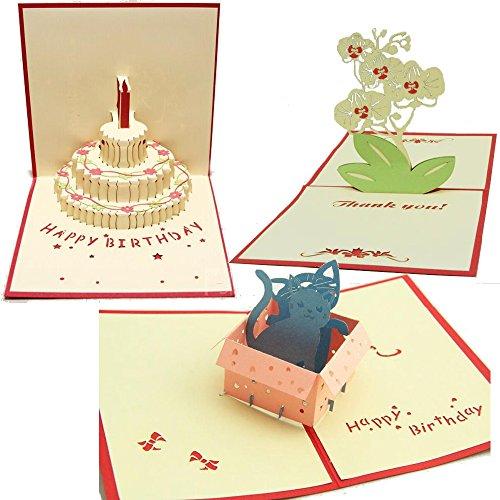 【3枚セット】 23 立体 ポップアップ カード グリーティングカード ケーキ 猫 ねこ 蘭 花 No.23