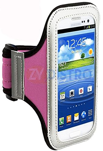 Mylife (Tm) Light Pink + Black + White Velcro Strap (Light Weight Flexible Neoprene + Secure Running Armband) For Samsung Galaxy S3 And S4 Touch Phone (Designed For All Galaxy S3 And S4 Models From All Carriers + Universal One Size Fits All + Velcro Secur