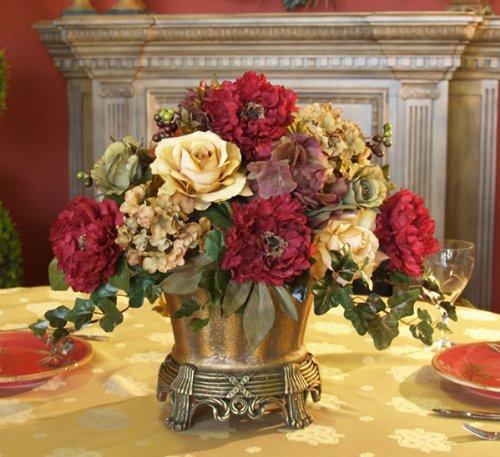 Garnet Peony and Hydrangea Silk Floral Centerpiece