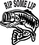 6 wide RIP SOME LIP with catfish. Black die cut vinyl decal sticker for any smooth surface such as windows bumpers laptops or any smooth surface.