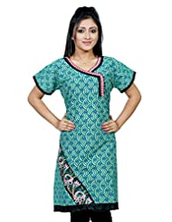 B3Fashion Green Printed Cotton Kurti With Embroidery And Patti Work