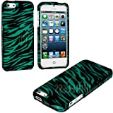 "myLife (TM) Teal + Black Zebra Stripes Series (2 Piece Snap On) Hardshell Plates Case for the iPhone 5/5S (5G) 5th Generation Touch Phone (Clip Fitted Front and Back Solid Cover Case + Rubberized Tough Armor Skin + Lifetime Warranty + Sealed Inside myLife Authorized Packaging) ""ADDITIONAL DETAILS: This two piece clip together case has a gloss surface and smooth texture that maximizes the stylish appeal of your iPhone 5 and brings out the unique colors and designs in the case itself."""