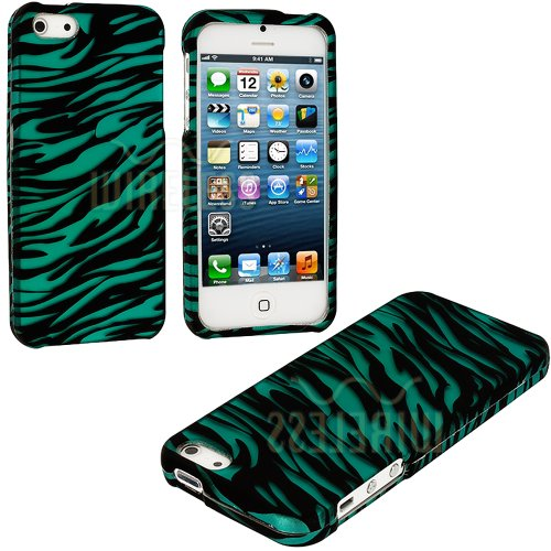 Mylife Teal + Black Zebra Stripes Series (2 Piece Snap On) Hardshell Plates Case For The Iphone 5/5S (5G) 5Th Generation Touch Phone (Clip Fitted Front And Back Solid Cover Case + Rubberized Tough Armor Skin)