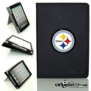 SMART SLEEP 2014 Apple Mini Ipad 3 black leather Case By Calaboy- Interchangeable Design - Personalized Picture Frame w Steelers Logo (fb31)