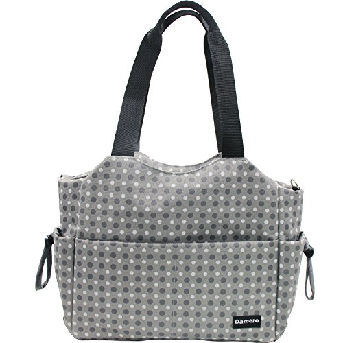 Damero Large Diaper Tote Satchel Bag with Changing Pad and Stroller Straps (Gray Dots)