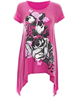 Womens Ladies Flared Hanky Hem Rose Glitter Cap Sleeves Long Vest Top Plus Sizes