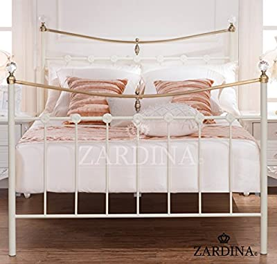 Lido Sapphire Crystal Iron Metal Bed - 4ft6 Double