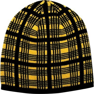 Winter Hat Black & Gold Plaid