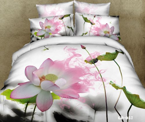 Queen King Size 100% Cotton 7-Pieces 3D White Pink Lotus Green Leaf Floral Prints Fitted Sheet Set With Rubber Around Duvet Cover Set/Bed Linens/Bed Sheet Sets/Bedclothes/Bedding Sets/Bed Sets/Bed Covers/ Comforters Sets Bed In A Bag (King) front-714584