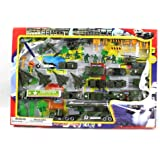 Metro Army Military Combat 43 Piece Mini Toy Diecast Vehicle Play Set, Comes with Street Play Mat, Variety of Vehicles and Figures