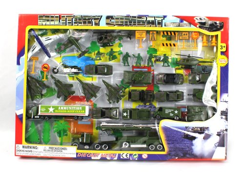 Metro Army Military Combat 43 Piece Mini Toy Diecast Vehicle Play Set, Comes with Street Play Mat, Variety of Vehicles and Figures (Diecast Military Tanks compare prices)