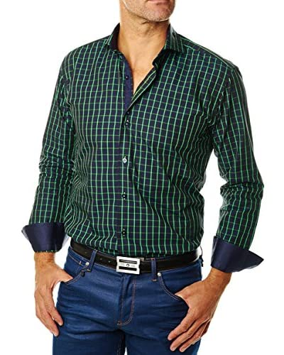 MACEOO Men's Button-Up Shirt with Contrasting Cuffs