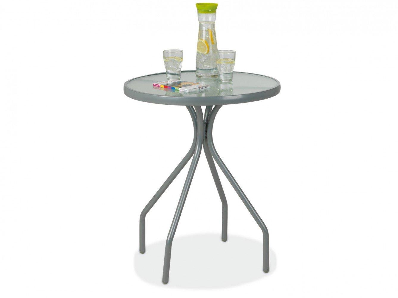 Gartentisch rund, Metall / Glasplatte Usim 1