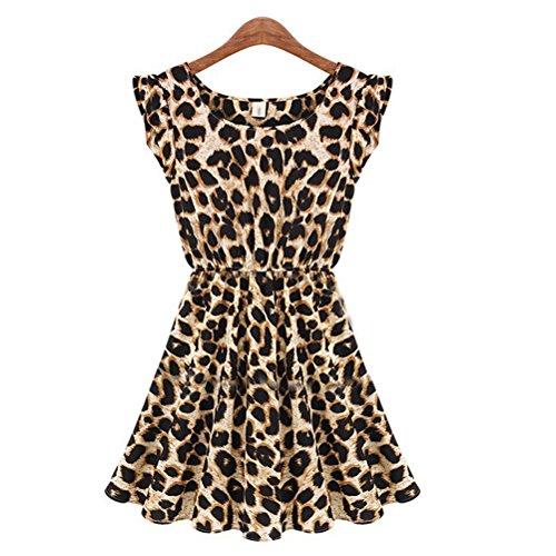 VORCOOL Sexy Slim Fit leopardo abito corto stampa mini abito donna - taglia M