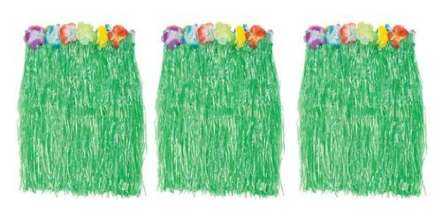 1 X Kid's Flowered Green Luau Hula Skirts (3 Pcs) w/Floral Waistbands