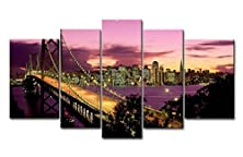 buy So Crazy Art® 5 Piece Wall Art Painting San Francisco Bay Bridge Pictures Prints On Canvas City The Picture Decor Oil For Home Modern Decoration Print For Kitchen