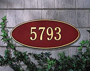 Whitehall Madison Oval Standard Lawn Address Plaque Two Line Version