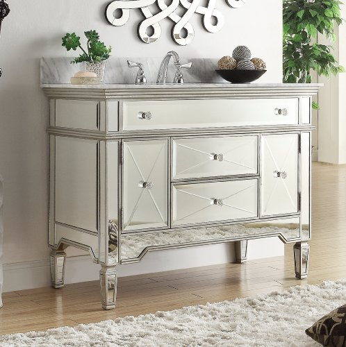 White Vanity With Mirror front-35328