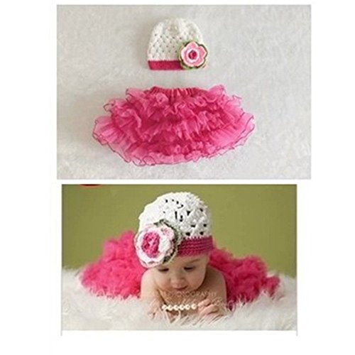 2Pcs Newbaby Girl Newborn Princess 0-2 Months Knit Crochet Hat And Skirt Outfits front-872273