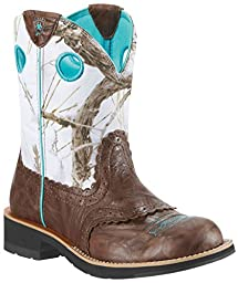 Ariat Women\'s Fatbaby Cowgirl Western Cowboy Boot, Brown Crinkle/Snowflake, 8.5 M US