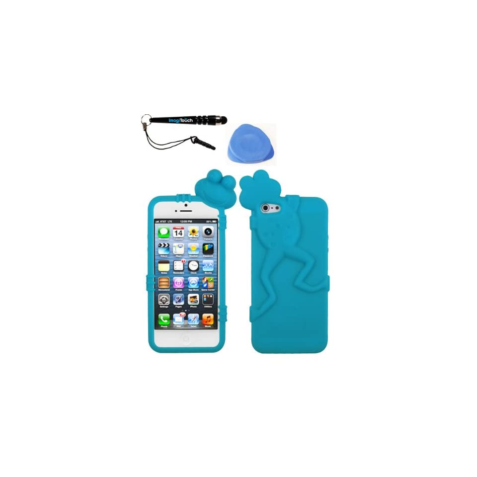 IMAGITOUCH(TM) 3 Item Combo APPLE iPhone 5 5S Tropical Teal Frog Peeking Pets Skin Cover (Stylus pen, Pry Tool, Phone Cover)