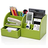 KINGOM? 7 Storage Compartments Multifunctional PU Leather Office Desk Organizer,Desktop Stationery Storage Box Collection, Business Card/Pen/Pencil/Mobile Phone /Remote Control Holder Desk Supplies Organizer (Green)
