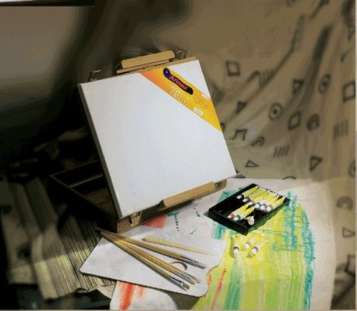 Artist Painting Easel Box Set With Acrylic Paints, Brushes, Palette, Palette Knife, And Stretched Canvas