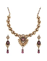 Shahenaz Jewellers 24 Ct Gold Plated Bridal Jewellery Set With CZ And Marquis Stones For Women - B00R2IO5F4