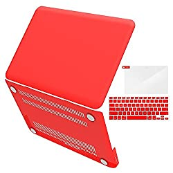 iBenzer - 3 in 1 Multi colors Soft-Touch Plastic Hard Case Cover & Keyboard Cover & screen protector for Multi Sizes Macbook (Macbook Pro 13'' Red)